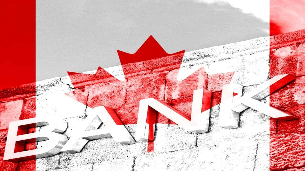 Bank sign and Canada flag
