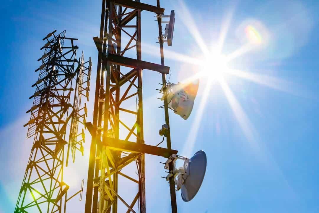 Cellular base station against blue sky