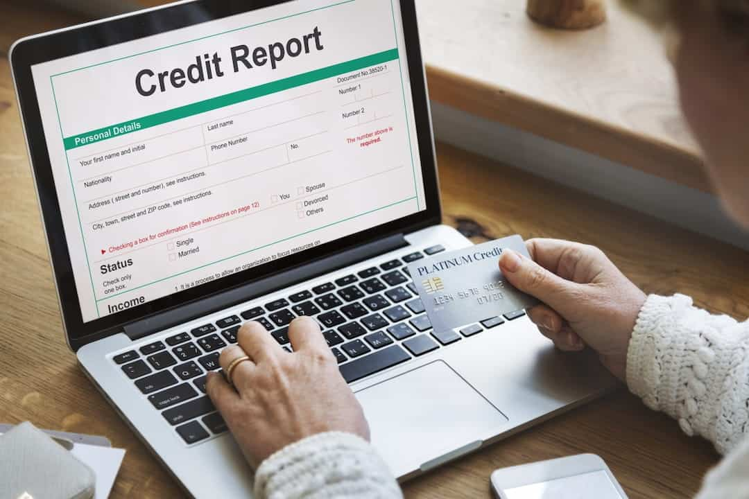 a person checking credit report on laptop