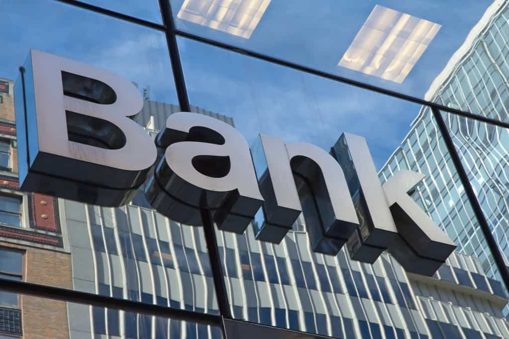 A Bank sign letters