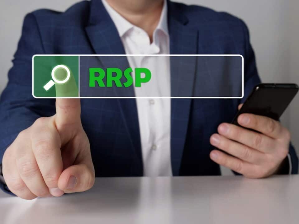 a person choosing RRSP icon on the touchscreen