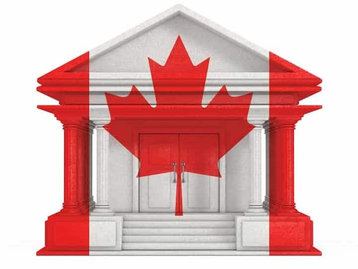 Facade of Bank with Canada flag