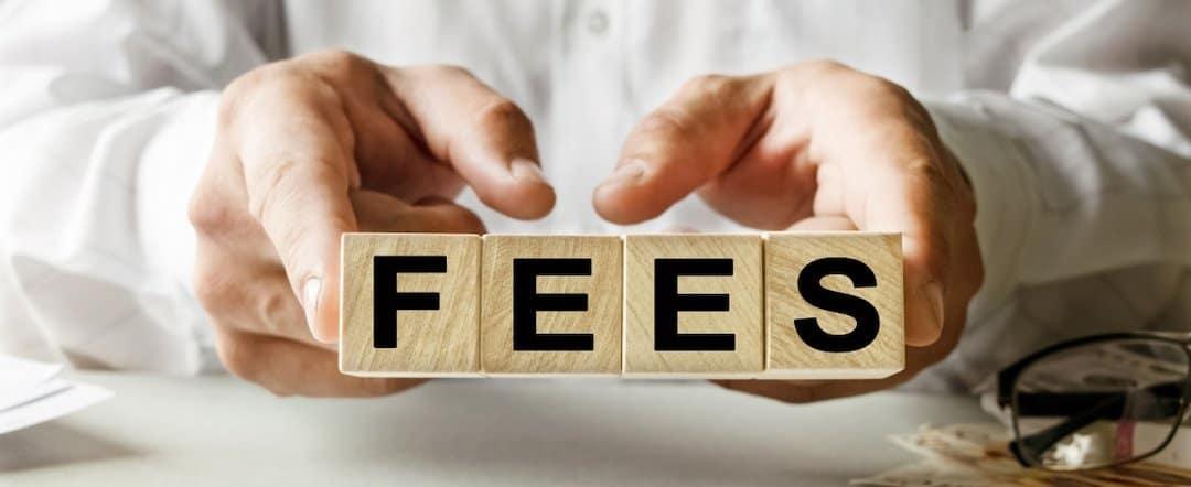 fees written on wooden cubes
