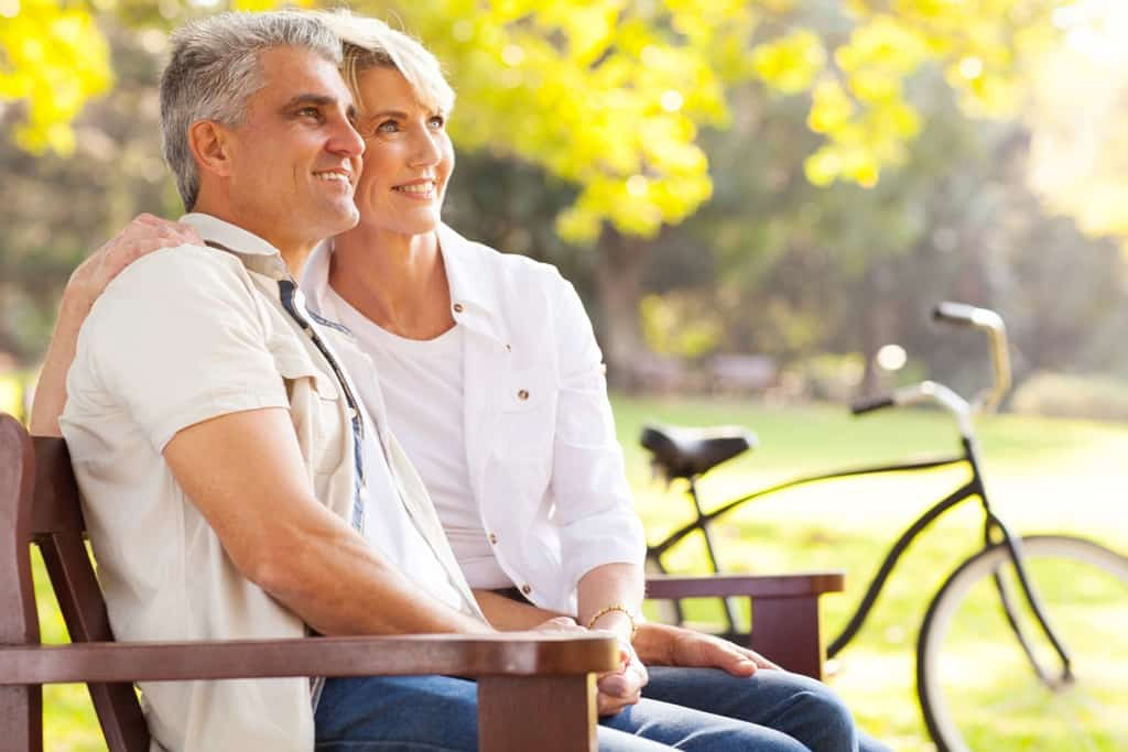 Mid age couple sitting on the bench