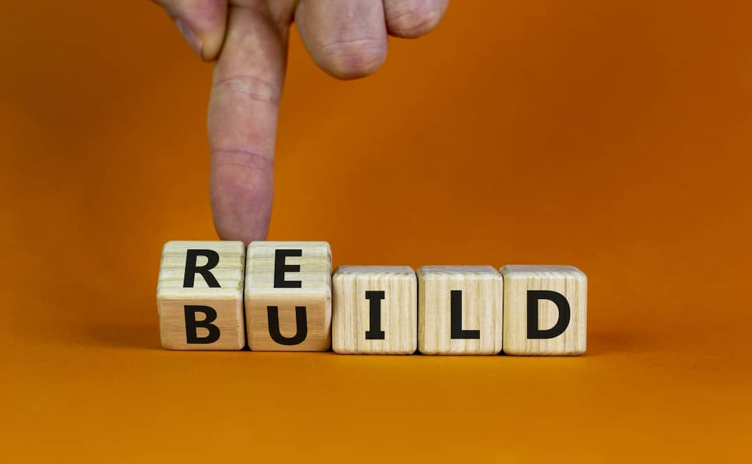 Rebuild word made of letters on wooden cubes