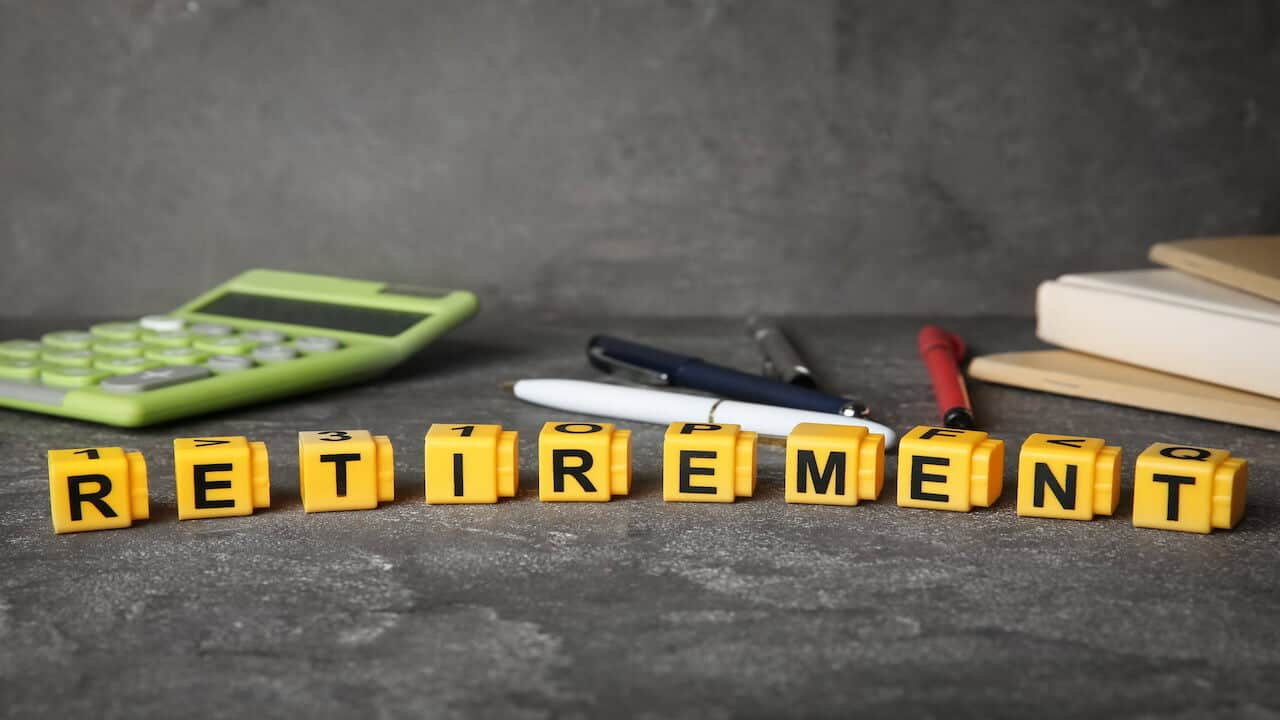 a calculator and RETIREMENT word on the table