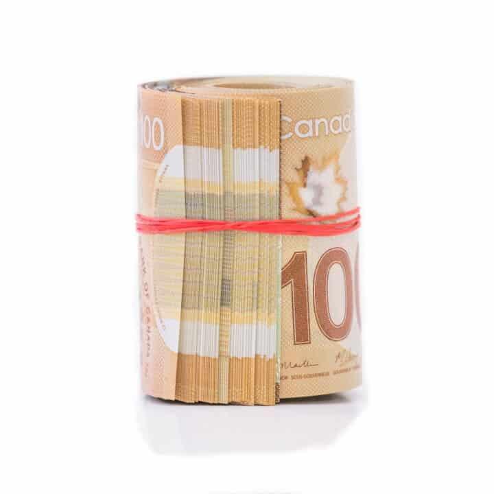 Canadian money in roll