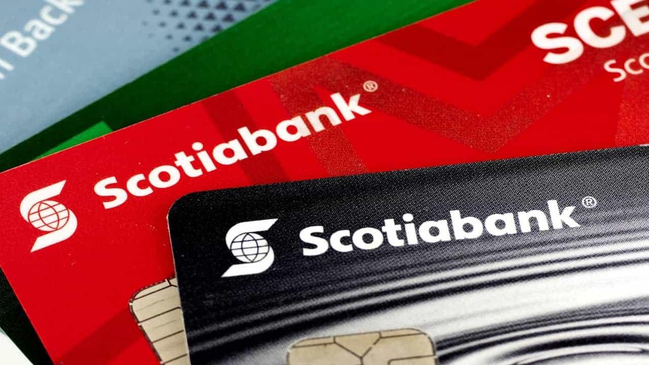 Close-up of various Scotiabank credit cards