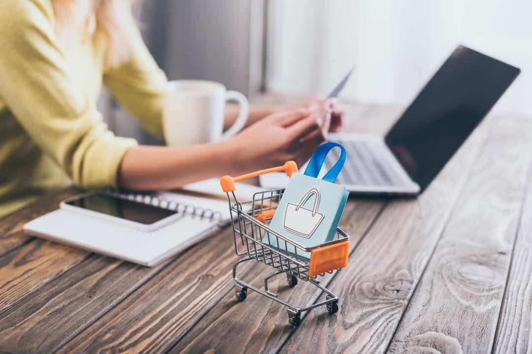 A small shopping bag in shopping trolley on the table with a person with laptop and credit card in the background