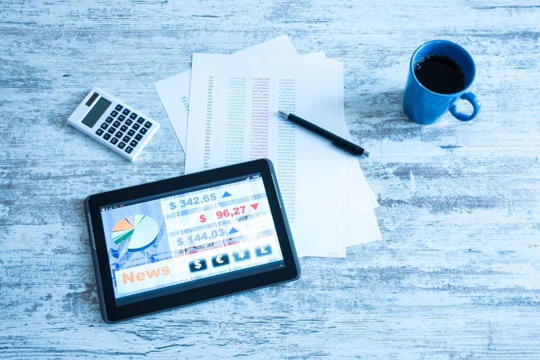 Stock market trading app on a tablet display
