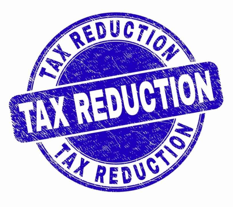 Tax reduction blue stamp