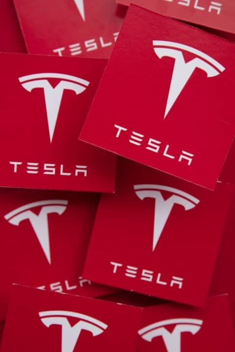 Tesla white and red logo