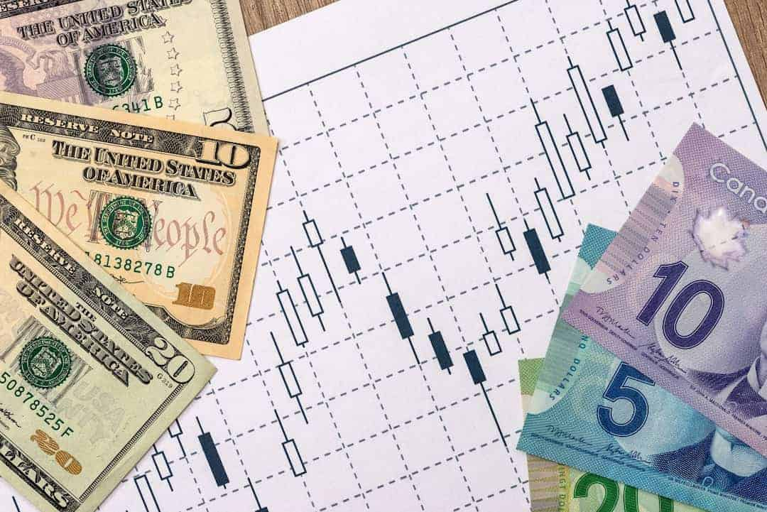 Canadian and US dollars with business graph, pen and calculator