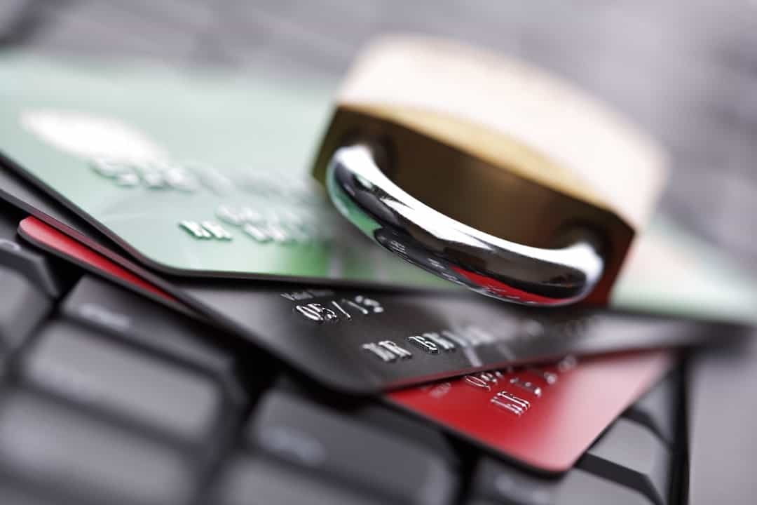 credit cards and padlock on the keyboard