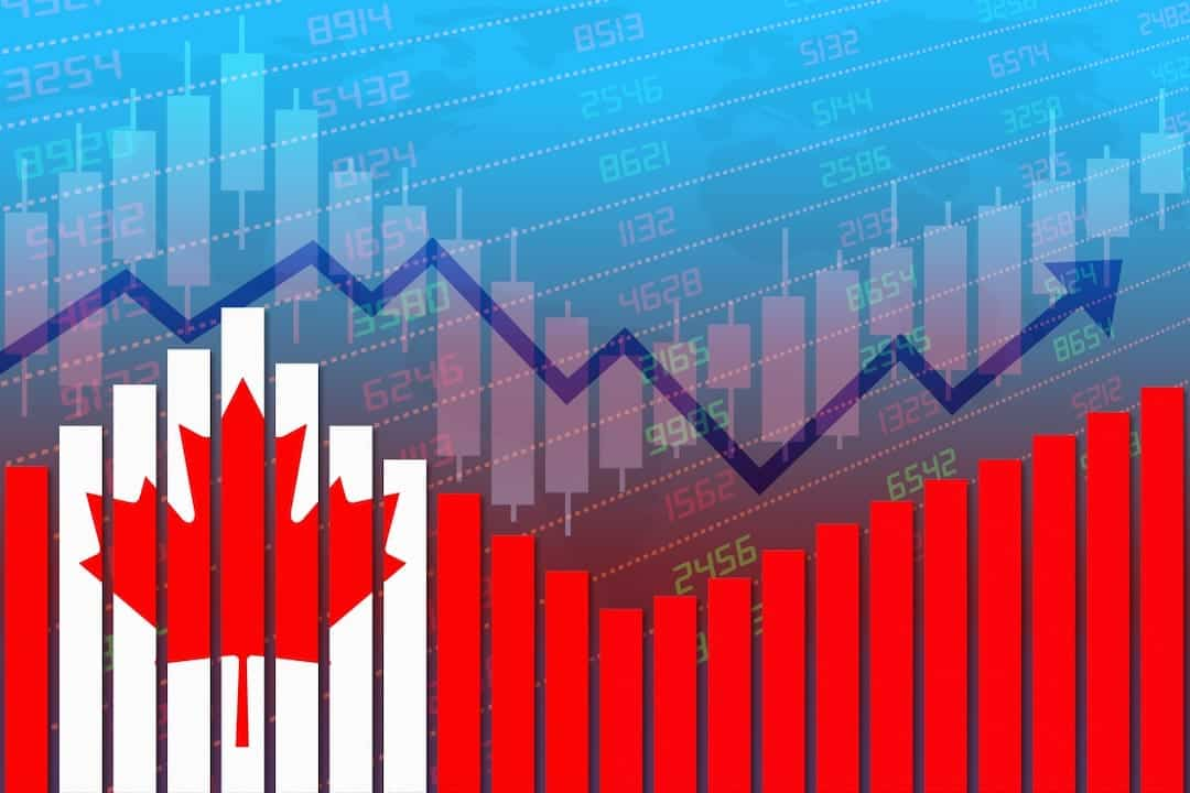 Canadian flag and stock graph