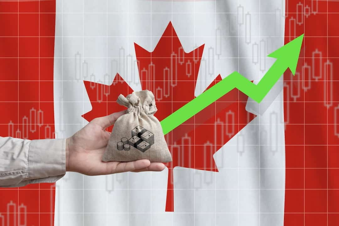 profit concept illustration with Canadian flag in the background