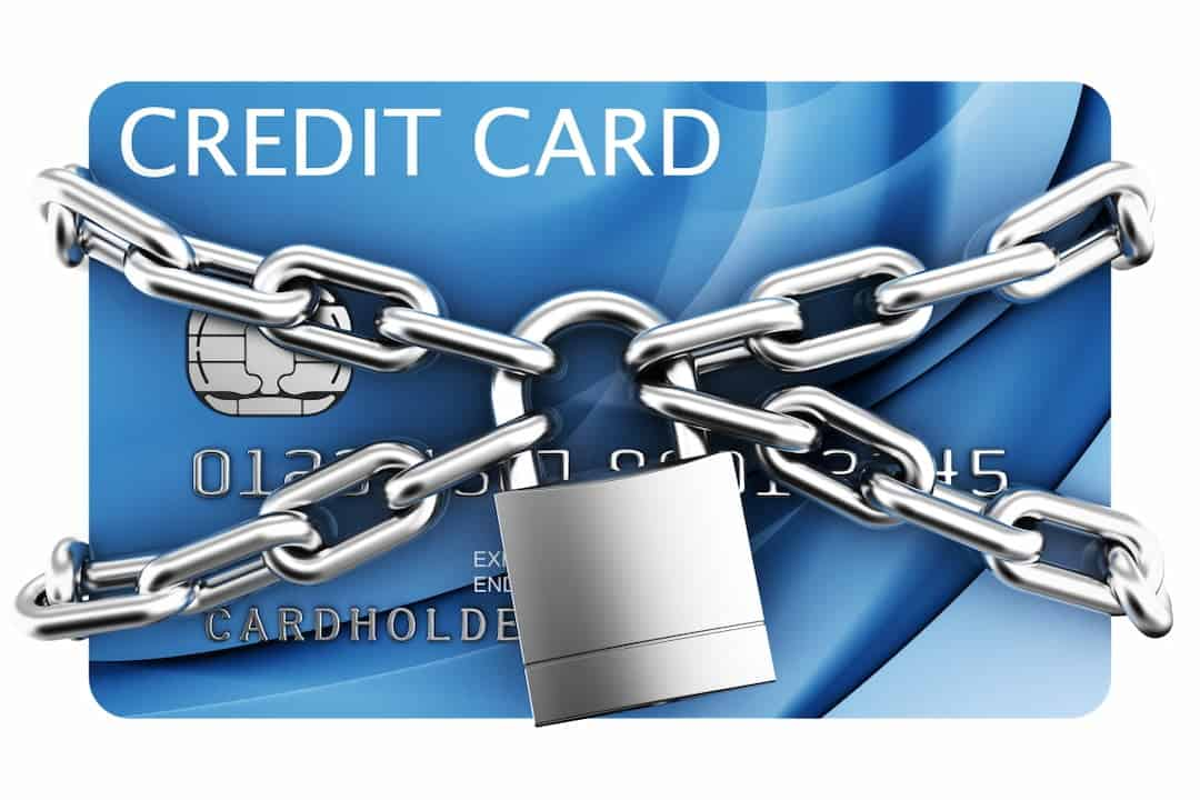 a credit card with chains and lock