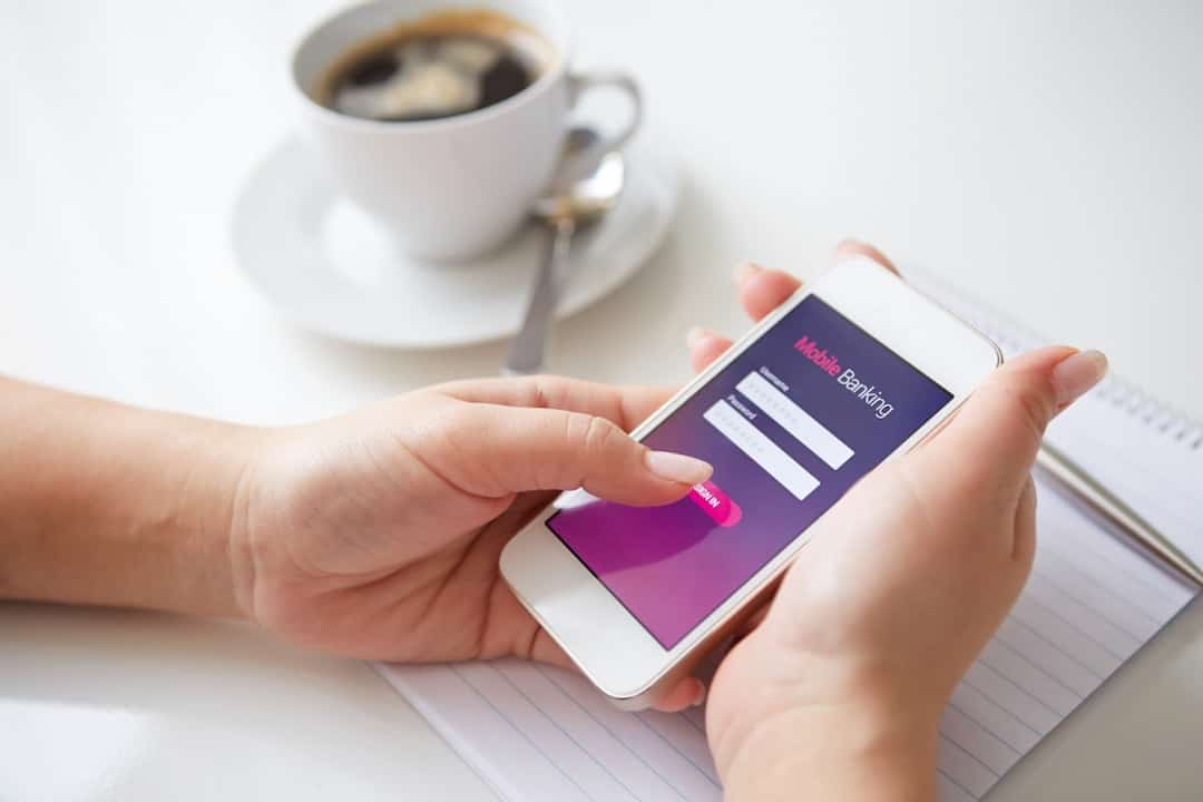 a person using mobile banking