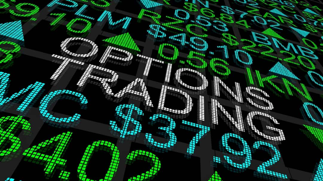 Option trading note, numbers and indexes on the board