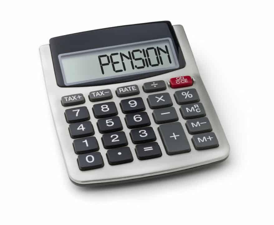 word PENSION on calculator display