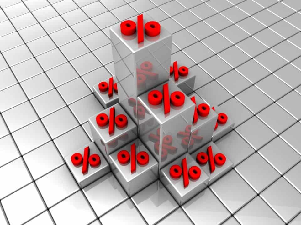 red percent symbols on the white cubes