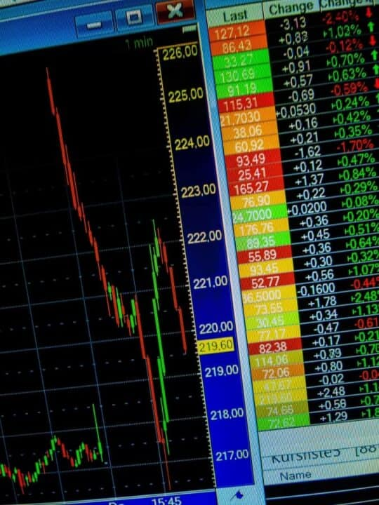 stock exchange charts on the screen